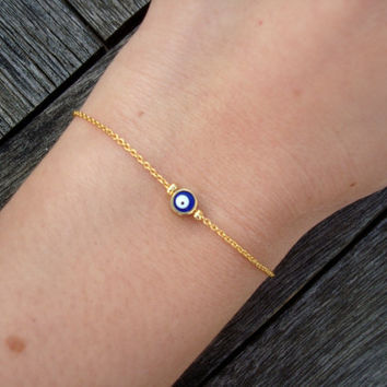 Gold Chain Evil Eye Bead Bracelet by cocolocca on Etsy
