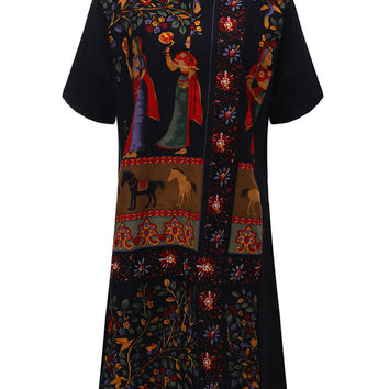 Chinese Style Printed Dress Short Sleeve V Neck Dress For Women