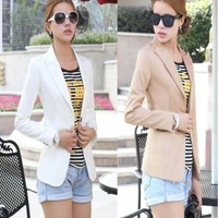 Single Front Button Blazer Coat For Women