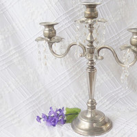 Vintage Shabby Chic/Cottage Style Silverplate Candelabra, Wedding, French Decor, Drippy Prisms
