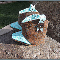 Quilted Baby Cowboy Cowgirl Boots  Unisex Booties Children's Shoes Made With Eco Friendly Organic Star Fabric