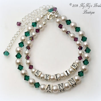 Mommy and Me Bracelet Set Sterling Silver, Birthstone Bracelets, Wedding Jewelry, Flower Girl Bracelet