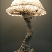 Paper Mache Fungus Lamp, Light Sculpture, Handmade Lamp, Nature, Mushroom, Fantasy, Whimsical, Plant, OOAK, Unique Table Light