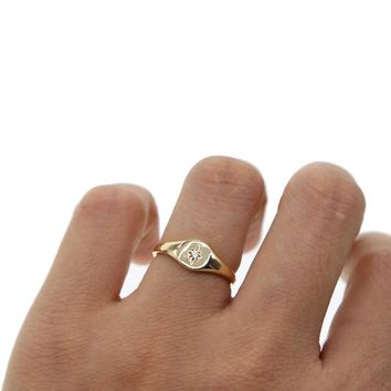 Simple gold color star ring engagement rings 2018 new star engraved with single cz stone minimal delicate finger women jewelry