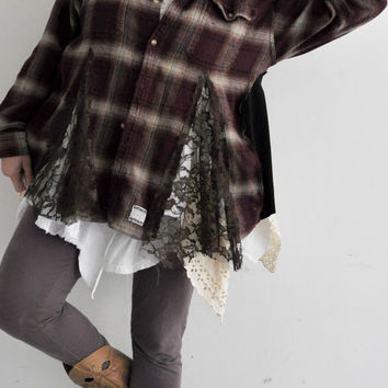 Upcycled Mens Flannel long sleeves shirt reconstructed buttonup shirt jacket cardigan edgy funky woodland camping beach skater gypsy boho xl