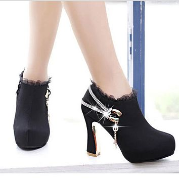 High Chunky Heel Lace Side Zippers Boots