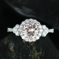 Amora 14kt White Gold Morganite Round Halo and Heart Shape Sides Engagement Ring (Other metals and stone options available)