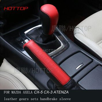 HOTTOP Genuine Leather Gear Shift Knob Cover FOR MAZDA 3 AXELA ATENZA CX-5 CX-3 leather gears sets handbrake sleeve