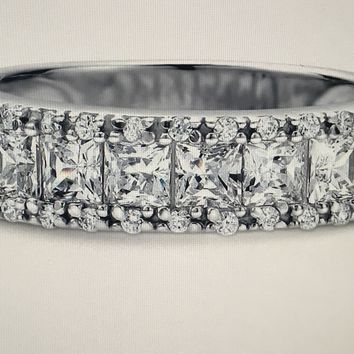 A Perfect 8.6TCW Channel Set Russian Lab Diamond Wedding Band Half Eternity Ring