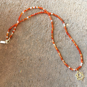 Fine Faceted Carnelian and Sterling Silver 'Sacral Chakra' Pendant Necklace