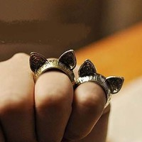 2 Kitty Ears Vintage Rings ( Set of Antique Gold+Silver)
