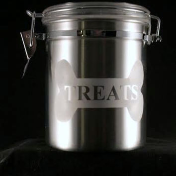 Stainless Steel Dog Treat Canister, Personalized Dog Treat Jar
