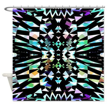 Black Shower Curtain - Mix #505 - Ornaart Design