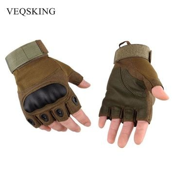 Men's Military Tactical Gloves Fingerless Hiking Hunting Gloves Outdoor Sport Gloves Cycling Moto Half Finger Gloves 3 Colors