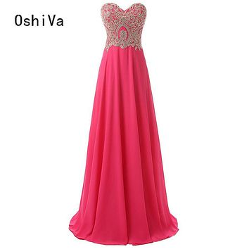 Vestido De Festa Sweetheart With Appliques A Line Floor Length Chiffon Long Party Formal Evening Dresses Gowns Robe De Soiree