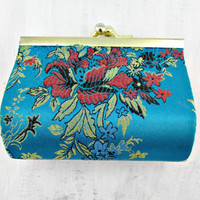 Vintage Asian Silk Coin Purse, Oriental Aqua Blue Coin Purse, Red Gold Floral Coin Purse, Small Change Purse, 1960s Fashion Accessory