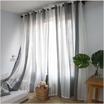 2017 Gray vertical stripes minimalist living room,Mediterranean style bedroom curtains sheer One panel