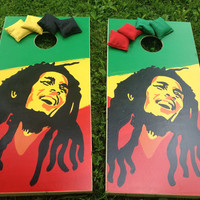 Bob Marley Custom Cornhole Boards with a Set of Bags - Handpainted Full Board Art - One of a Kind Gift - Professionally Built of Solid Wood