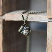 ready for your close-up brass camera necklace