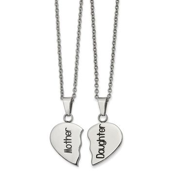 Stainless Steel Polished&Enamel 1/2 Heart Mother/Daughter Necklace Set