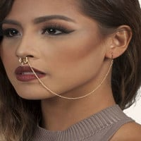 2016 new jewelry set fake septum clicker falso piercing jewelry crystal nose ring with chain earrings gold silver