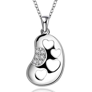 silver plated Chain four heart in foot Necklaces Pendants Men jewelry 672 MP