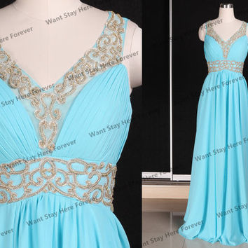 Gorgeous Sky Blue and Golden Beading Straps Empire Line See Through Back Floor Length Long Evening Dress,long evening gown,senior prom dress