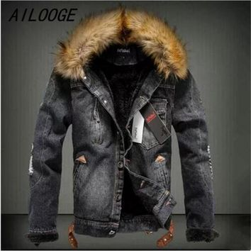 AILOOGE New Winter Fashion Men Woolen Denim Jacket