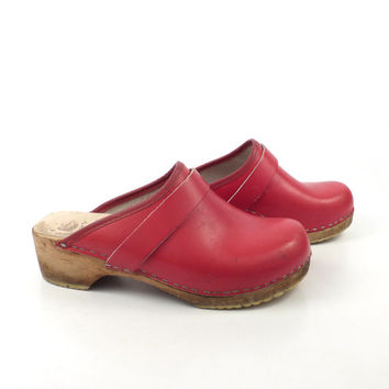 Wooden Clogs Shoes Vintage 1980s Red Sweden Swedish Leather Size 36