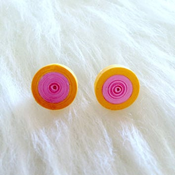 Quilled Paper Earrings - Pastel Orange and Pink -  Handmade, Stud, Round, Paper, Trendy, Fun, Unique, Gift, Colorful, Casual, Summer, Light