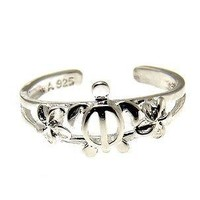 STERLING SILVER 925 HAWAIIAN HONU SEA TURTLE PLUMERIA FLOWER OPEN TOE RING