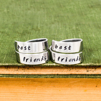 Best Friends Forever Rings - Friendship Rings - Adjustable Aluminum Wrap Ring Set