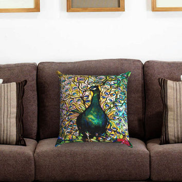 Tiffany Peacock Stained Glass Pillow Cover , Custom Zippered Pillow Case One Side Two Sides