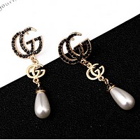 GUCCI Fashion New Pearl Letter Diamond Personality Accessories Long Earring Women