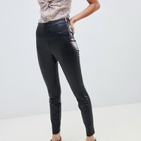 Miss Selfridge faux leather skinny pants in black at asos.com