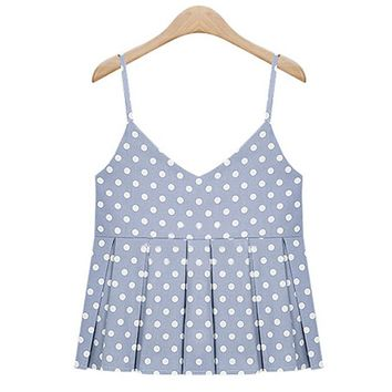 Women Summer Tank Tops Blue Pink with White Polka Dot Spaghetti Strap Girls Casual Pleat Vest Cropped Tops