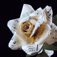 Vintage sheet music rose, regular - paper flower for wedding, gift, or home decor