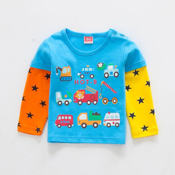 baby clothes New baby boys baby Girls T Shirt Car Cartoon long Sleeve Baby Children T-shirts 3 color  Child Clothing