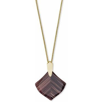 Kendra Scott: Aislinn Gold Long Pendant Necklace In Brown Dusted Glass