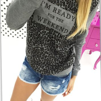 Leopard Letter Print Long-Sleeve Shirt