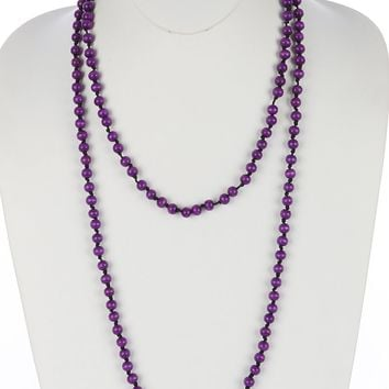 Purple Wooden Bead Extra Long Wraparound Necklace