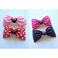 Pick ONE- Minnie Mouse handmade fabric hair bow from Bowlicious Divas Bowtique
