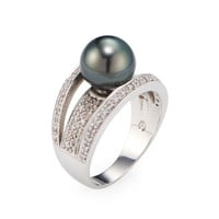 Belpearl Women's Triple Row Diamond & Black Tahitian Pearl Ring - Size 7