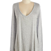ModCloth Long Long Sleeve Casual You Need Top in Grey