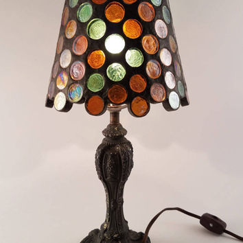 Amber and Green Stained Glass Lamp with Antique Cast Iron Base