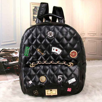 CHANEL Women Fashion College Leather Shoulder Bag Satchel Bookbag Backpack