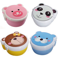 2 Layers Cartoon Plastic Bento Lunch Box with Spoon