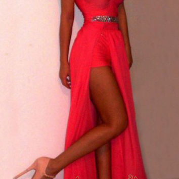A-line Red Chiffon High Low Homecoming Dresses/ Sexy Prom Dresses/Formal Dresses/ AM293