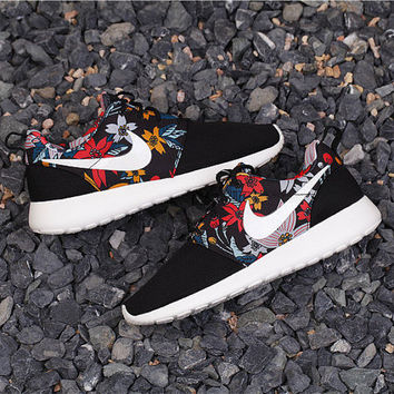 Custom Nike Roshe Run Black Floral Athletic Running shoes