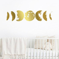 Moon Phases Wall Decal - Moon Phases Decor, Gold Moon Phases, Modern Decals, Moon Wall Decal, Moon Phase Wall Art  ga5